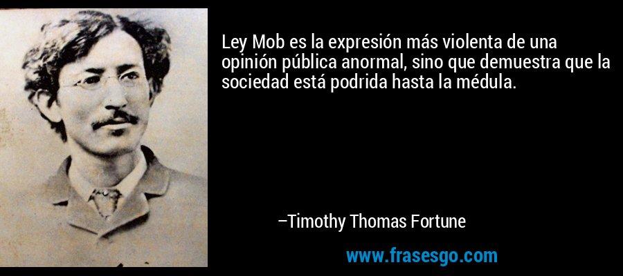 Ley Mob es la expresión más violenta de una opinión pública anormal, sino que demuestra que la sociedad está podrida hasta la médula. – Timothy Thomas Fortune