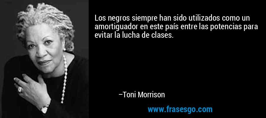 Los negros siempre han sido utilizados como un amortiguador en este país entre las potencias para evitar la lucha de clases. – Toni Morrison