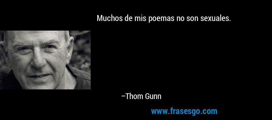 Muchos de mis poemas no son sexuales. – Thom Gunn