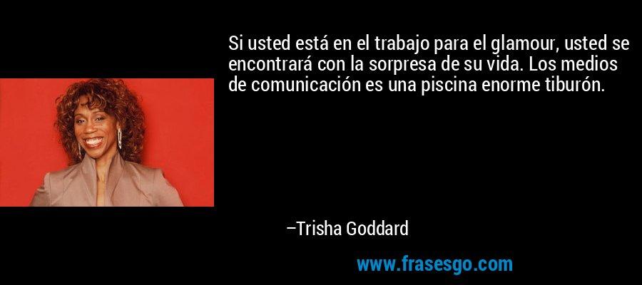 Si usted está en el trabajo para el glamour, usted se encontrará con la sorpresa de su vida. Los medios de comunicación es una piscina enorme tiburón. – Trisha Goddard