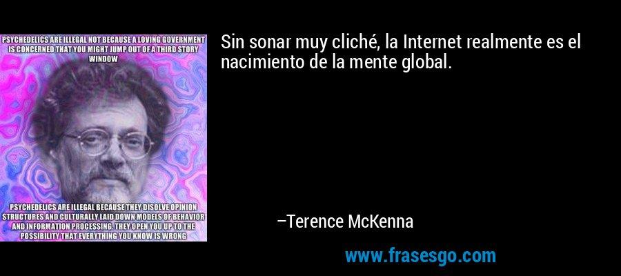 Sin sonar muy cliché, la Internet realmente es el nacimiento de la mente global. – Terence McKenna