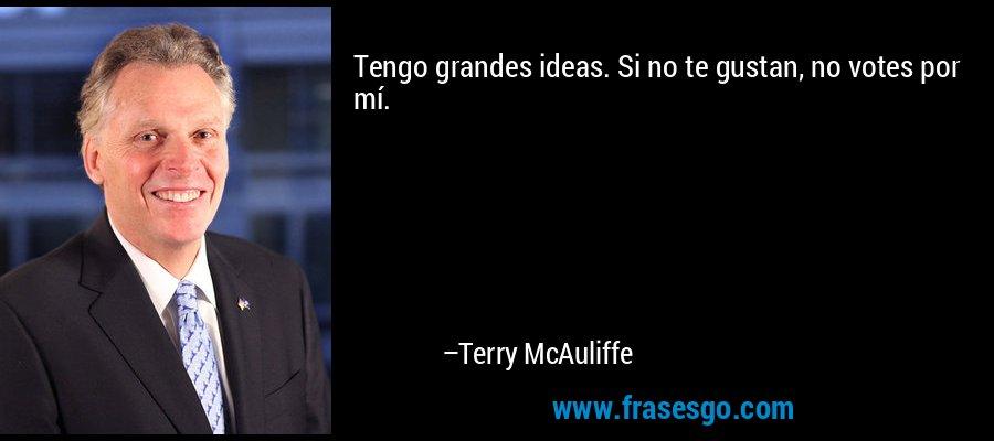 Tengo grandes ideas. Si no te gustan, no votes por mí. – Terry McAuliffe