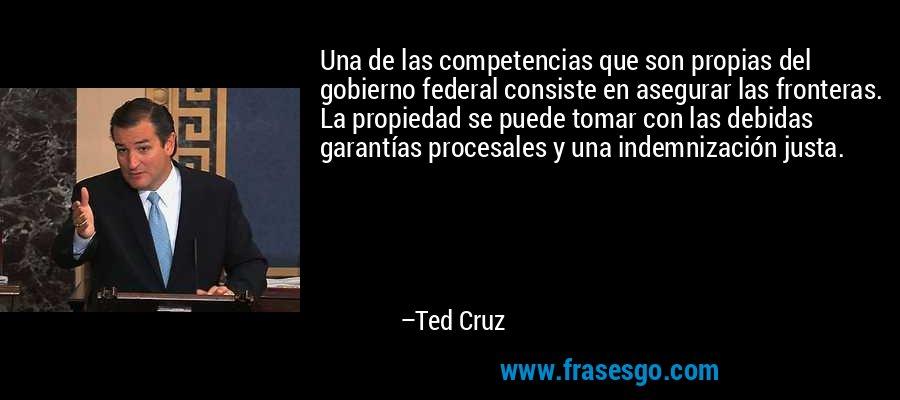 Una de las competencias que son propias del gobierno federal consiste en asegurar las fronteras. La propiedad se puede tomar con las debidas garantías procesales y una indemnización justa. – Ted Cruz