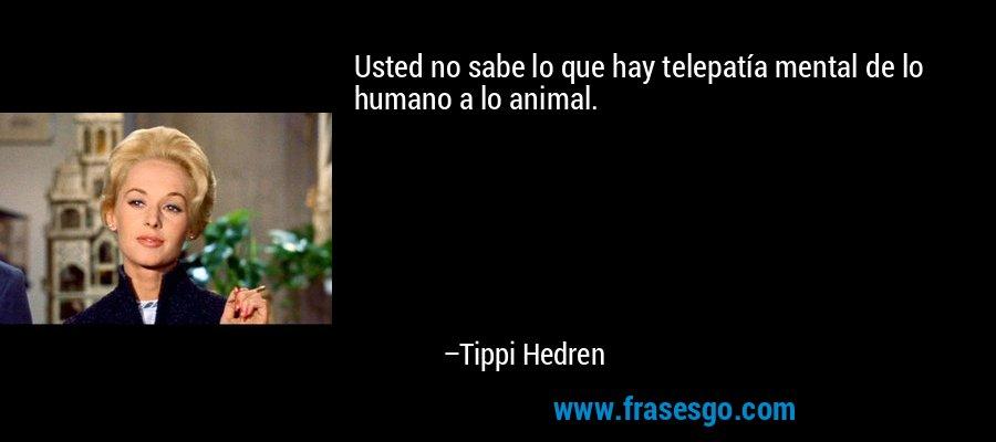 Usted no sabe lo que hay telepatía mental de lo humano a lo animal. – Tippi Hedren