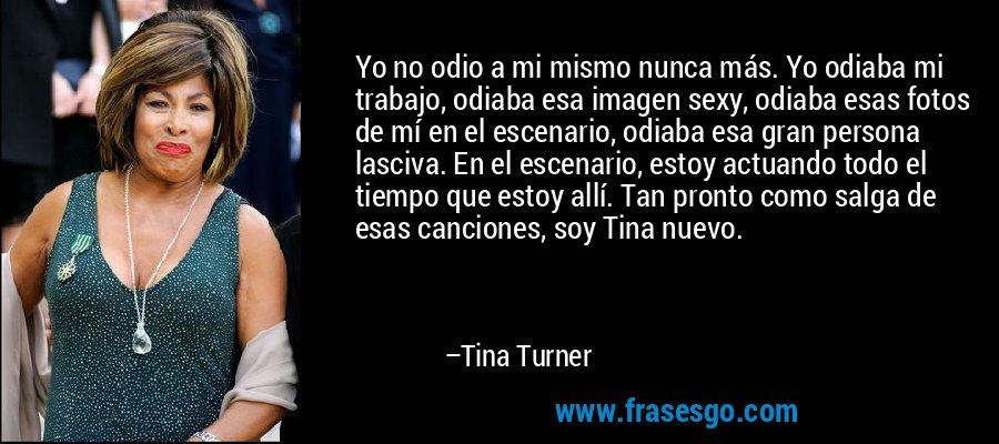 Yo no odio a mi mismo nunca más. Yo odiaba mi trabajo, odiaba esa imagen sexy, odiaba esas fotos de mí en el escenario, odiaba esa gran persona lasciva. En el escenario, estoy actuando todo el tiempo que estoy allí. Tan pronto como salga de esas canciones, soy Tina nuevo. – Tina Turner