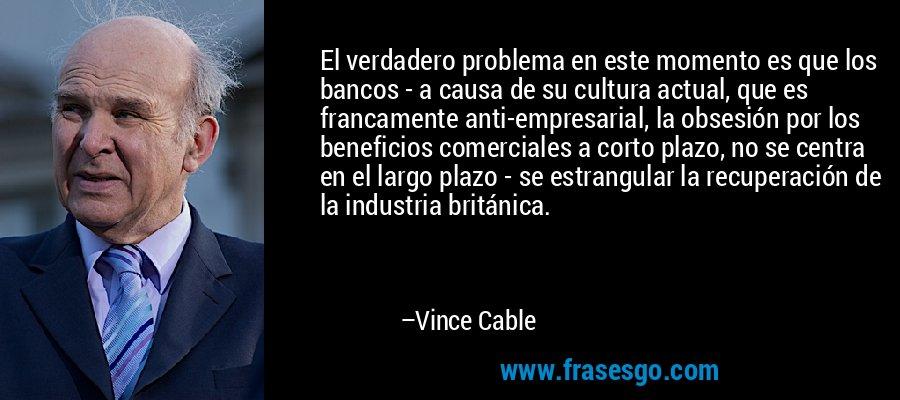 El verdadero problema en este momento es que los bancos - a causa de su cultura actual, que es francamente anti-empresarial, la obsesión por los beneficios comerciales a corto plazo, no se centra en el largo plazo - se estrangular la recuperación de la industria británica. – Vince Cable