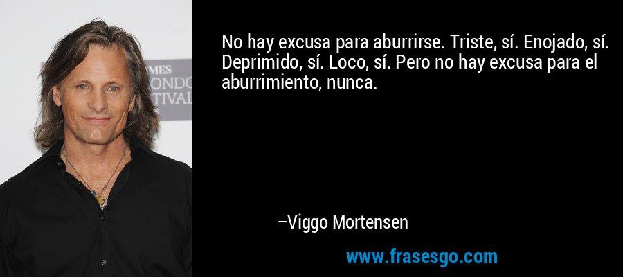 No hay excusa para aburrirse. Triste, sí. Enojado, sí. Deprimido, sí. Loco, sí. Pero no hay excusa para el aburrimiento, nunca. – Viggo Mortensen