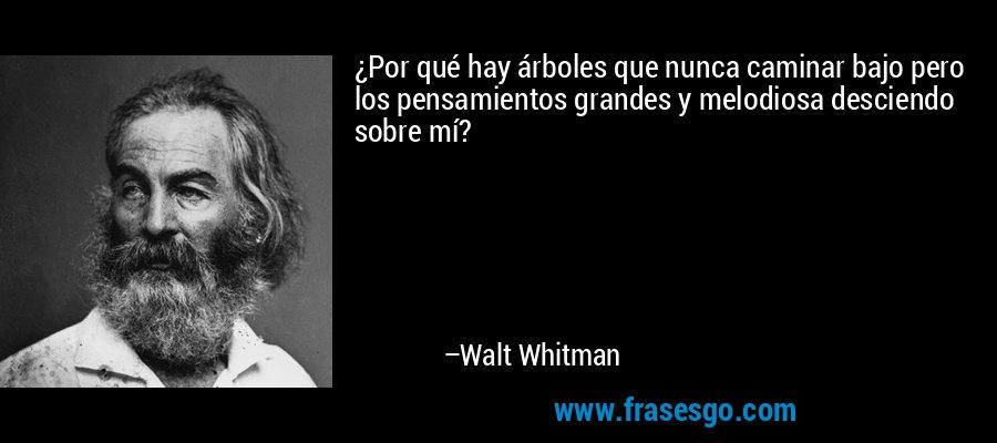 ¿Por qué hay árboles que nunca caminar bajo pero los pensamientos grandes y melodiosa desciendo sobre mí? – Walt Whitman