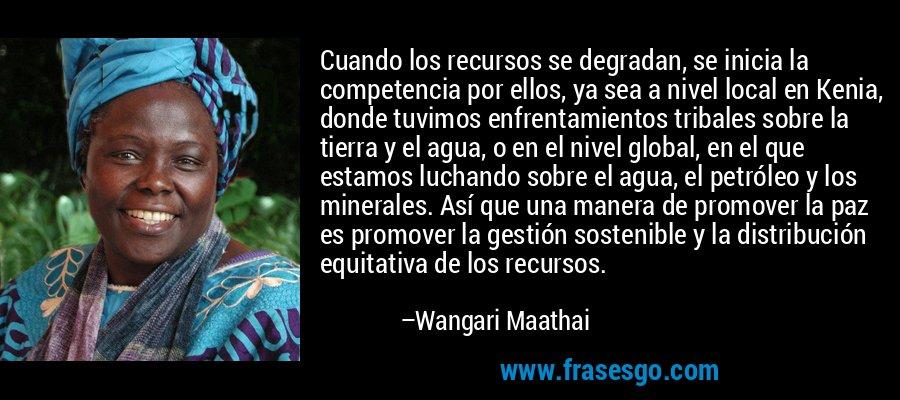 Cuando los recursos se degradan, se inicia la competencia por ellos, ya sea a nivel local en Kenia, donde tuvimos enfrentamientos tribales sobre la tierra y el agua, o en el nivel global, en el que estamos luchando sobre el agua, el petróleo y los minerales. Así que una manera de promover la paz es promover la gestión sostenible y la distribución equitativa de los recursos. – Wangari Maathai