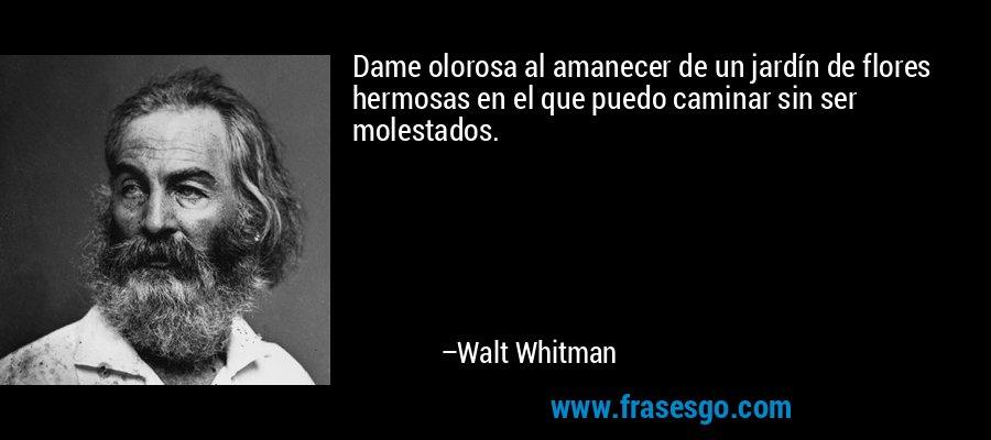 Dame olorosa al amanecer de un jardín de flores hermosas en el que puedo caminar sin ser molestados. – Walt Whitman
