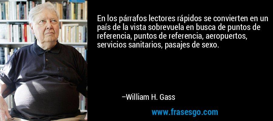 En los párrafos lectores rápidos se convierten en un país de la vista sobrevuela en busca de puntos de referencia, puntos de referencia, aeropuertos, servicios sanitarios, pasajes de sexo. – William H. Gass