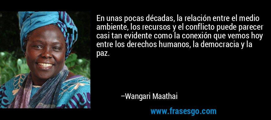 En unas pocas décadas, la relación entre el medio ambiente, los recursos y el conflicto puede parecer casi tan evidente como la conexión que vemos hoy entre los derechos humanos, la democracia y la paz. – Wangari Maathai