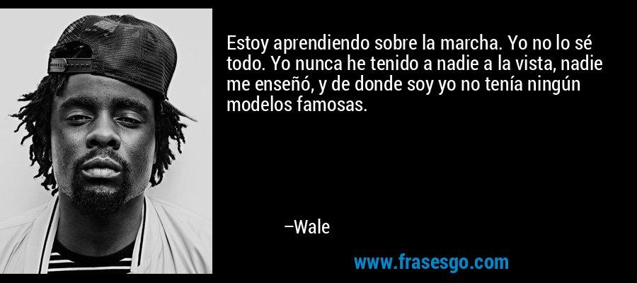 Estoy aprendiendo sobre la marcha. Yo no lo sé todo. Yo nunca he tenido a nadie a la vista, nadie me enseñó, y de donde soy yo no tenía ningún modelos famosas. – Wale