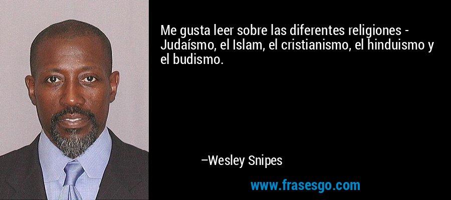 Me gusta leer sobre las diferentes religiones - Judaísmo, el Islam, el cristianismo, el hinduismo y el budismo. – Wesley Snipes