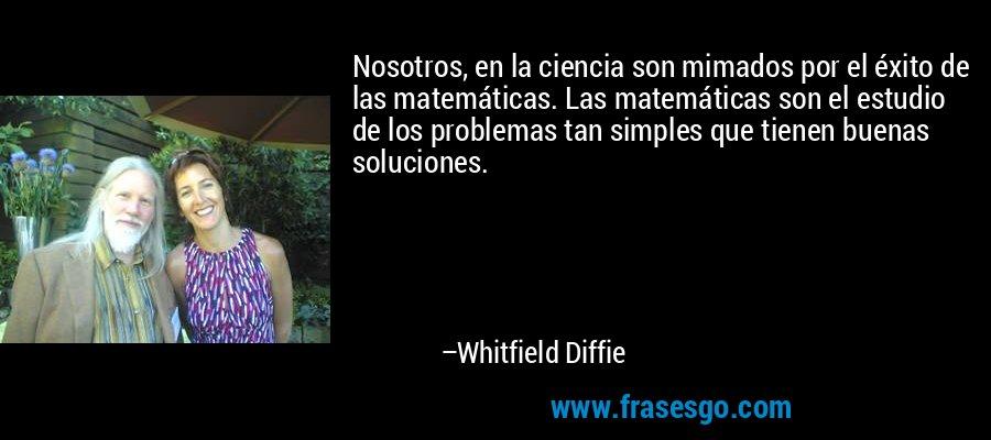 Nosotros, en la ciencia son mimados por el éxito de las matemáticas. Las matemáticas son el estudio de los problemas tan simples que tienen buenas soluciones. – Whitfield Diffie