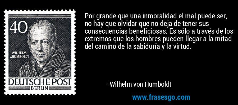Por grande que una inmoralidad el mal puede ser, no hay que olvidar que no deja de tener sus consecuencias beneficiosas. Es sólo a través de los extremos que los hombres pueden llegar a la mitad del camino de la sabiduría y la virtud. – Wilhelm von Humboldt