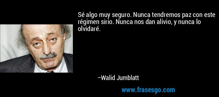 Sé algo muy seguro. Nunca tendremos paz con este régimen sirio. Nunca nos dan alivio, y nunca lo olvidaré. – Walid Jumblatt