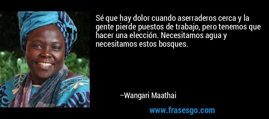 Sé que hay dolor cuando aserraderos cerca y la gente pierde puestos de trabajo, pero tenemos que hacer una elección. Necesitamos agua y necesitamos estos bosques. – Wangari Maathai