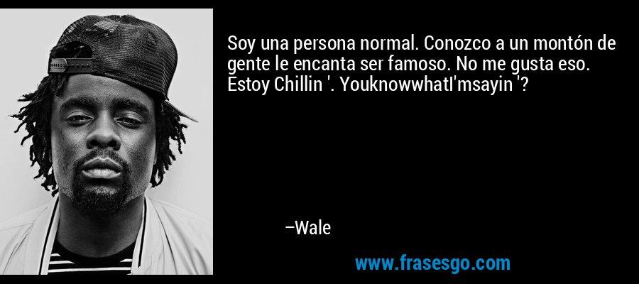 Soy una persona normal. Conozco a un montón de gente le encanta ser famoso. No me gusta eso. Estoy Chillin '. YouknowwhatI'msayin '? – Wale