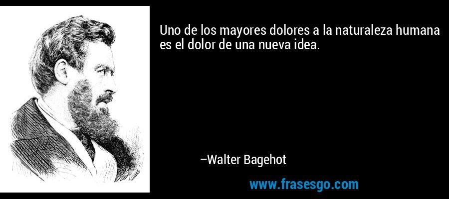 Uno de los mayores dolores a la naturaleza humana es el dolor de una nueva idea. – Walter Bagehot
