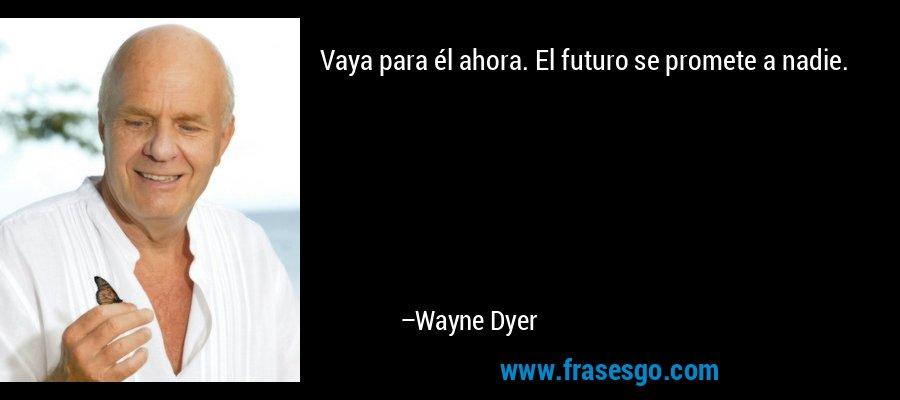 Vaya para él ahora. El futuro se promete a nadie. – Wayne Dyer