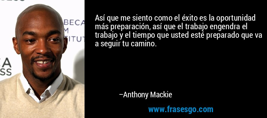 Así que me siento como el éxito es la oportunidad más preparación, así que el trabajo engendra el trabajo y el tiempo que usted esté preparado que va a seguir tu camino. – Anthony Mackie