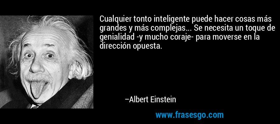 Cualquier tonto inteligente puede hacer cosas más grandes y más complejas... Se necesita un toque de genialidad -y mucho coraje- para moverse en la dirección opuesta. – Albert Einstein