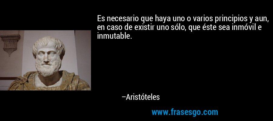 Es necesario que haya uno o varios principios y aun, en caso de existir uno sólo, que éste sea inmóvil e inmutable. – Aristóteles