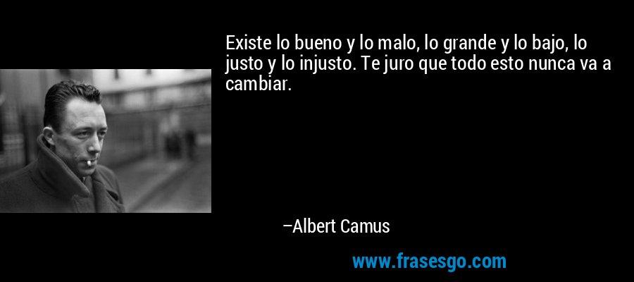 Existe lo bueno y lo malo, lo grande y lo bajo, lo justo y lo injusto. Te juro que todo esto nunca va a cambiar. – Albert Camus