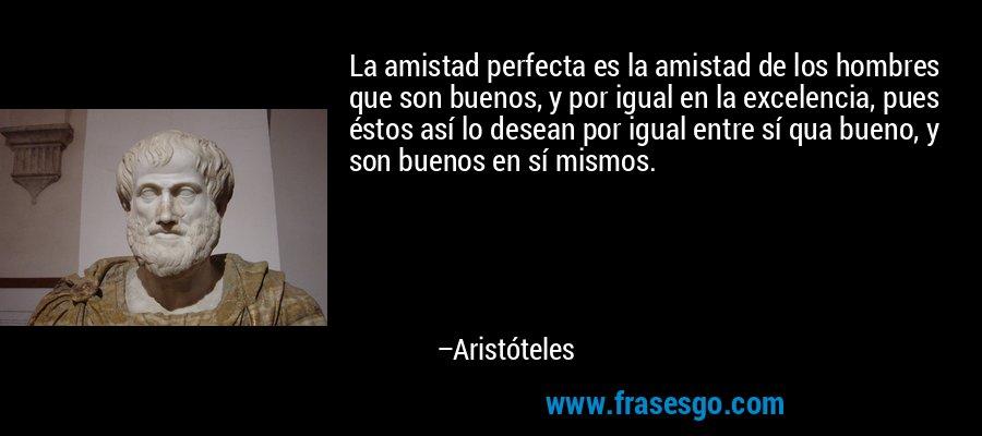 La amistad perfecta es la amistad de los hombres que son buenos, y por igual en la excelencia, pues éstos así lo desean por igual entre sí qua bueno, y son buenos en sí mismos. – Aristóteles