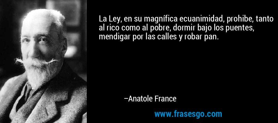 La Ley, en su magnífica ecuanimidad, prohibe, tanto al rico como al pobre, dormir bajo los puentes, mendigar por las calles y robar pan. – Anatole France