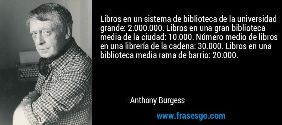 Libros en un sistema de biblioteca de la universidad grande: 2.000.000. Libros en una gran biblioteca media de la ciudad: 10.000. Número medio de libros en una librería de la cadena: 30.000. Libros en una biblioteca media rama de barrio: 20.000. – Anthony Burgess