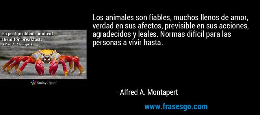 Los animales son fiables, muchos llenos de amor, verdad en sus afectos, previsible en sus acciones, agradecidos y leales. Normas difícil para las personas a vivir hasta. – Alfred A. Montapert