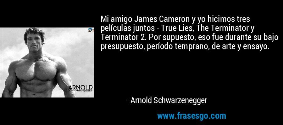 Mi amigo James Cameron y yo hicimos tres películas juntos - True Lies, The Terminator y Terminator 2. Por supuesto, eso fue durante su bajo presupuesto, período temprano, de arte y ensayo. – Arnold Schwarzenegger