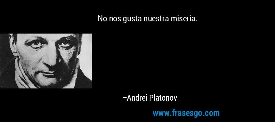 No nos gusta nuestra miseria. – Andrei Platonov