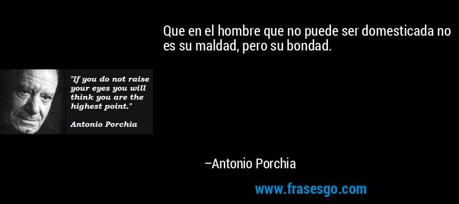 Que en el hombre que no puede ser domesticada no es su maldad, pero su bondad. – Antonio Porchia
