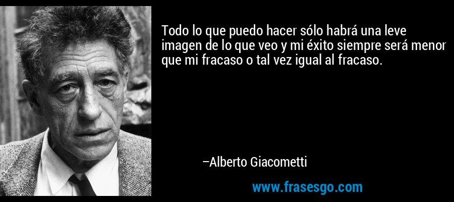 Todo lo que puedo hacer sólo habrá una leve imagen de lo que veo y mi éxito siempre será menor que mi fracaso o tal vez igual al fracaso. – Alberto Giacometti