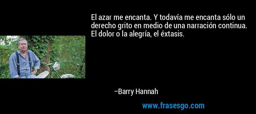 El azar me encanta. Y todavía me encanta sólo un derecho grito en medio de una narración continua. El dolor o la alegría, el éxtasis. – Barry Hannah