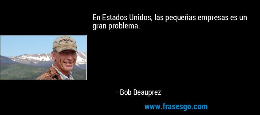 En Estados Unidos, las pequeñas empresas es un gran problema. – Bob Beauprez