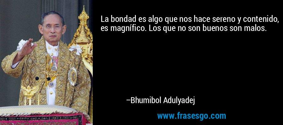 La bondad es algo que nos hace sereno y contenido, es magnífico. Los que no son buenos son malos. – Bhumibol Adulyadej