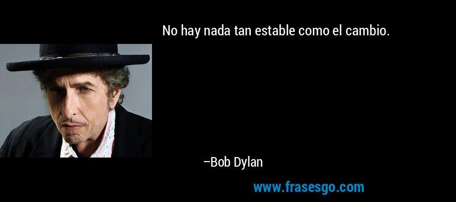 No hay nada tan estable como el cambio. – Bob Dylan