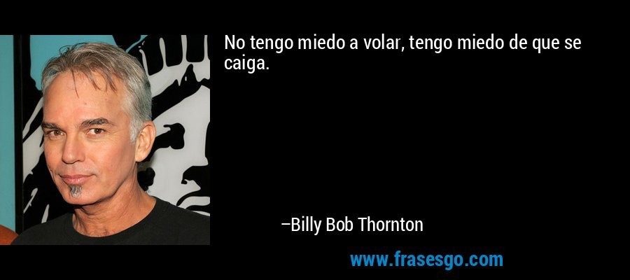 No tengo miedo a volar, tengo miedo de que se caiga. – Billy Bob Thornton