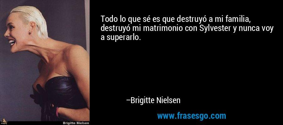Todo lo que sé es que destruyó a mi familia, destruyó mi matrimonio con Sylvester y nunca voy a superarlo. – Brigitte Nielsen