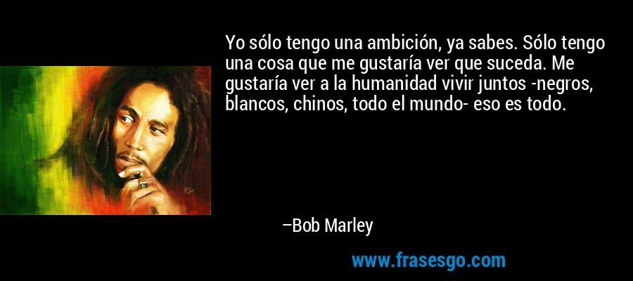 Yo sólo tengo una ambición, ya sabes. Sólo tengo una cosa que me gustaría ver que suceda. Me gustaría ver a la humanidad vivir juntos -negros, blancos, chinos, todo el mundo- eso es todo. – Bob Marley
