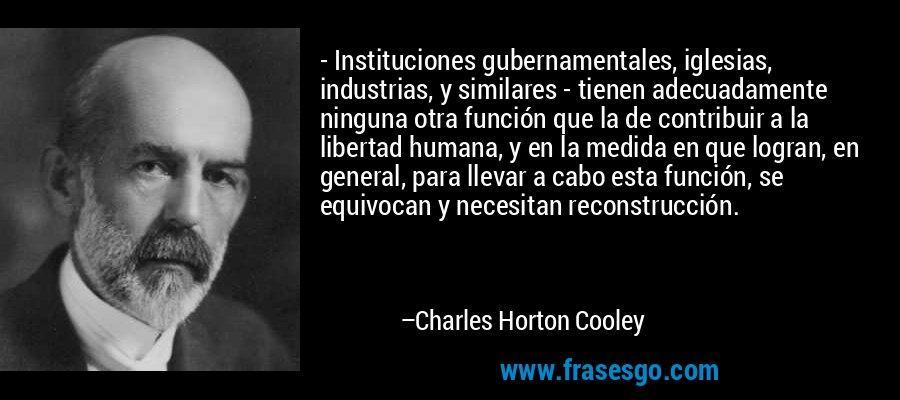 - Instituciones gubernamentales, iglesias, industrias, y similares - tienen adecuadamente ninguna otra función que la de contribuir a la libertad humana, y en la medida en que logran, en general, para llevar a cabo esta función, se equivocan y necesitan reconstrucción. – Charles Horton Cooley