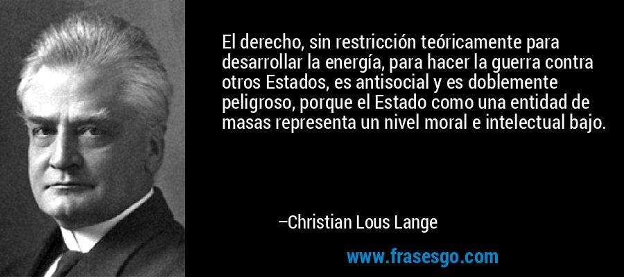 El derecho, sin restricción teóricamente para desarrollar la energía, para hacer la guerra contra otros Estados, es antisocial y es doblemente peligroso, porque el Estado como una entidad de masas representa un nivel moral e intelectual bajo. – Christian Lous Lange