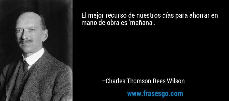 El mejor recurso de nuestros días para ahorrar en mano de obra es 'mañana'. – Charles Thomson Rees Wilson