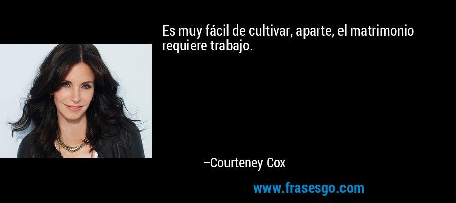 Es muy fácil de cultivar, aparte, el matrimonio requiere trabajo. – Courteney Cox