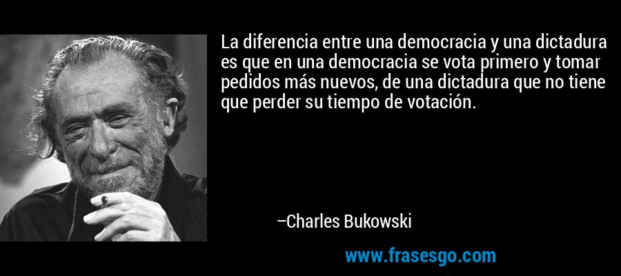 La diferencia entre una democracia y una dictadura es que en una democracia se vota primero y tomar pedidos más nuevos, de una dictadura que no tiene que perder su tiempo de votación. – Charles Bukowski