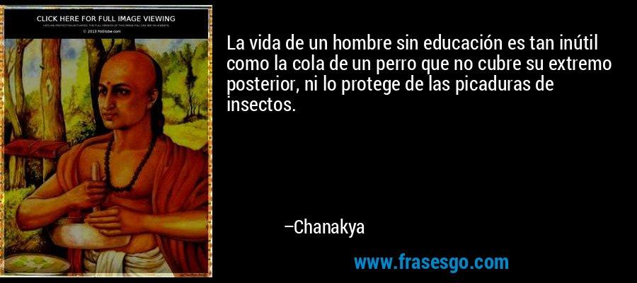 La vida de un hombre sin educación es tan inútil como la cola de un perro que no cubre su extremo posterior, ni lo protege de las picaduras de insectos. – Chanakya